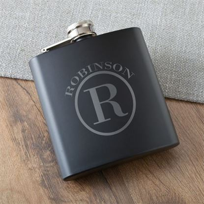 Personalized Circle Monogram Black Matte Flask
