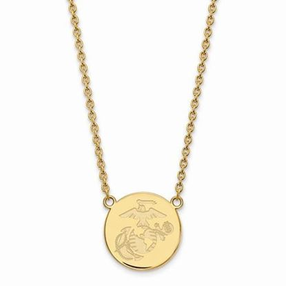 U.S. Marine Corps Gold-plated Sterling Silver Split Chain Disc Pendant Necklace