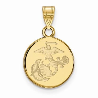U.S. Marine Corps Small Gold-plated Sterling Silver Disc Pendant