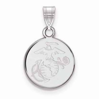 U.S. Marine Corps Small Rhodium-plated Sterling Silver Disc Pendant