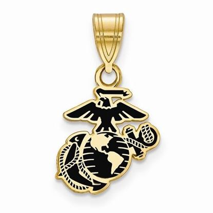 U.S. Marine Corps Small Gold-plated Sterling Silver Epoxied Pendant