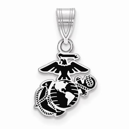 U.S. Marine Corps Small Rhodium-plated Sterling Silver Epoxied Pendant