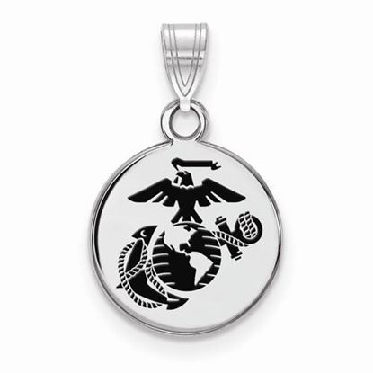 U.S. Marine Corps Small Rhodium-plated Sterling Silver Epoxied Disc Pendant