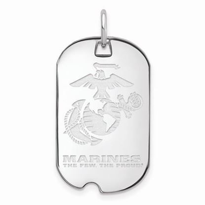 U.S. Marine Corps Large Rhodium-plated Sterling Silver Small Dog Tag