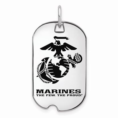 U.S. Marine Corps Large Rhodium-plated Sterling Silver Epoxied Small Dog Tag