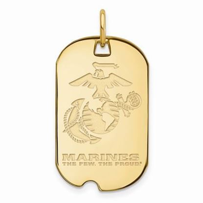 U.S. Marine Corps Large Gold-plated Sterling Silver Small Dog Tag