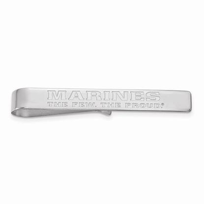 U.S. Marine Corps Large Rhodium-plated Sterling Silver Tie Bar