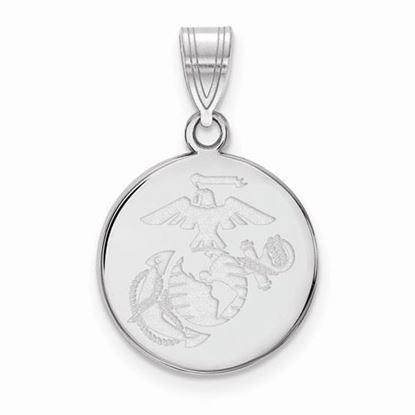 U.S. Marine Corps Medium Rhodium-plated Sterling Silver Disc Pendant