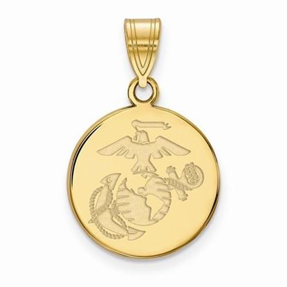 U.S. Marine Corps Medium Gold-plated Sterling Silver Disc Pendant