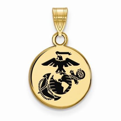 U.S. Marine Corps Small Gold-plated Sterling Silver Epoxied Disc Pendant