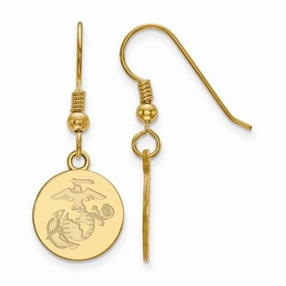 U.S. Marine Corps Large Gold-plated Sterling Silver Disc Dangle Earrings