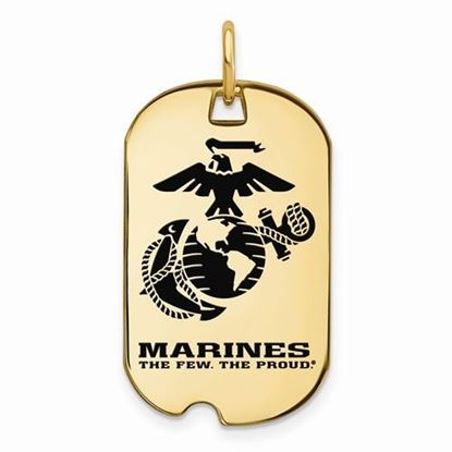 U.S. Marine Corps Large Gold-plated Sterling Silver Epoxied Small Dog Tag