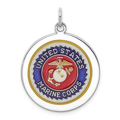 U.S. Marine Corps Rhodium-plated Sterling Silver Disc Pendant