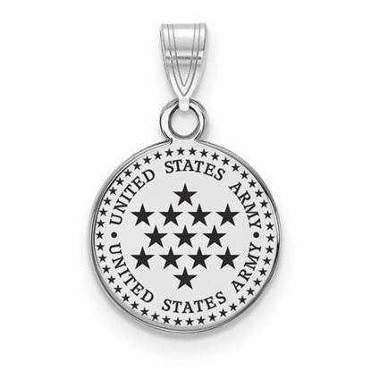 U.S. Army Sterling Silver Small Epoxied Disc Pendant