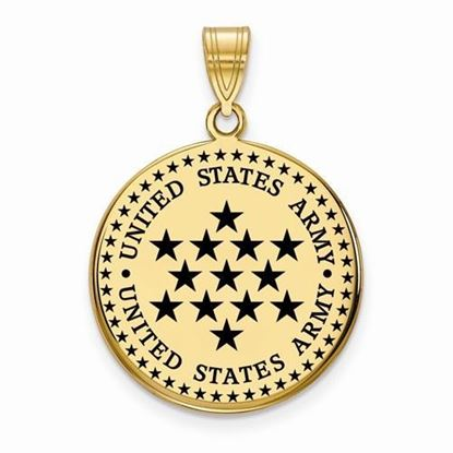 U.S. Army Gold-plated Sterling Silver Large Epoxied Disc Pendant
