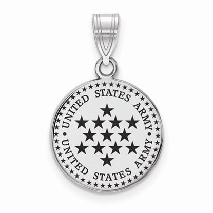 U.S. Army Sterling Silver Medium Epoxied Disc Pendant