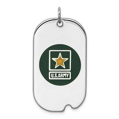 U.S. Army Sterling Silver Rhodium-plated Star Dog Tag