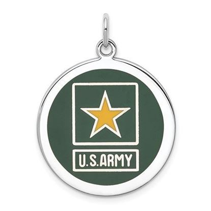 U.S. Army Sterling Silver Rhodium-plated Star Disc