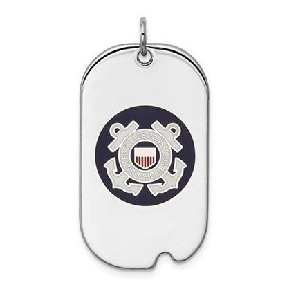 U.S. Coast Guard Sterling Silver Rhodium-plated Dog Tag
