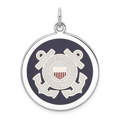 U.S. Coast Guard Sterling Silver Rhodium-plated Disc