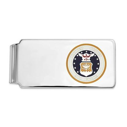 U.S. Air Force Rhodium-plated Sterling Silver Gold Background Money Clip
