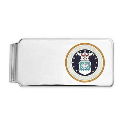 U.S. Air Force Rhodium-plated Sterling Silver Blue Background Money Clip