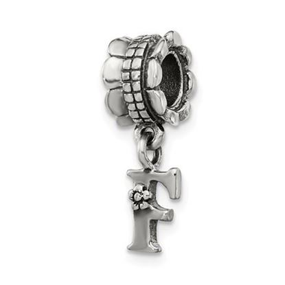 Picture of Sterling Silver Letter F Dangle Bead