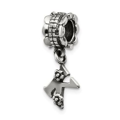 Picture of Sterling Silver Letter K Dangle Bead