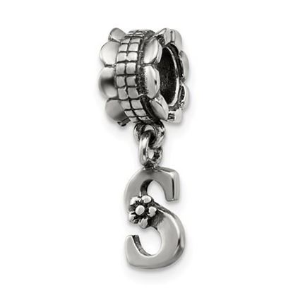 Picture of Sterling Silver Letter S Dangle Bead