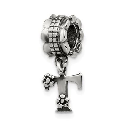 Picture of Sterling Silver Letter T Dangle Bead