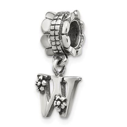 Picture of Sterling Silver Letter W Dangle Bead