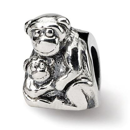 Picture of Sterling Silver Mama & Baby Monkey Bead