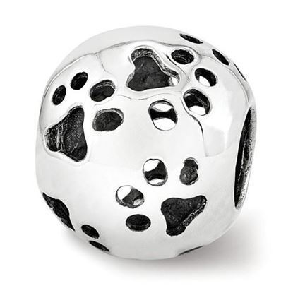 Picture of Sterling Silver Cutout Paw Prints Bead