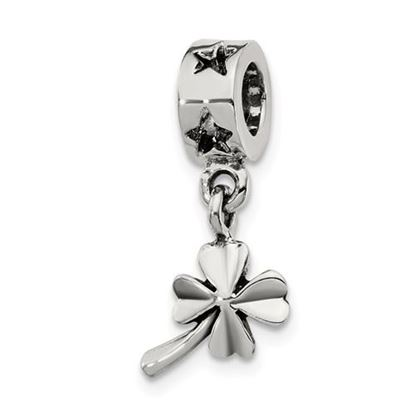 Picture of Sterling Silver 4-leaf Clover Dangle Bead