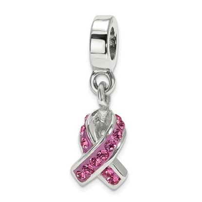 Picture of Sterling Silver Swarovski Crystal Awareness Dangle Bead