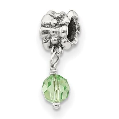 Picture of Sterling Silver Green Swarovski Crystal Dangle Bead