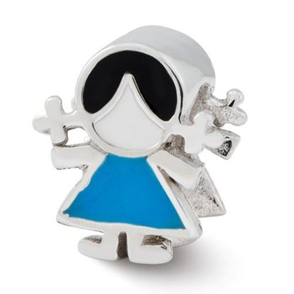 Picture of Sterling Silver Enameled Blue Dress Girl Bead
