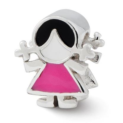 Picture of Sterling Silver Enameled Pink Dress Girl Bead