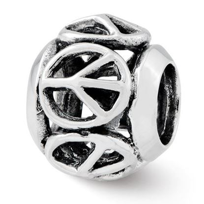 Picture of Sterling Silver Peace Sign Bead