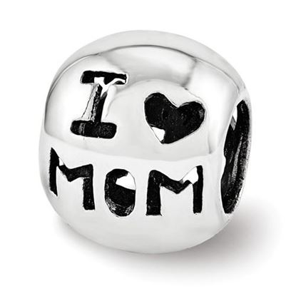 Picture of Sterling Silver Cutout I Heart Mom Bead