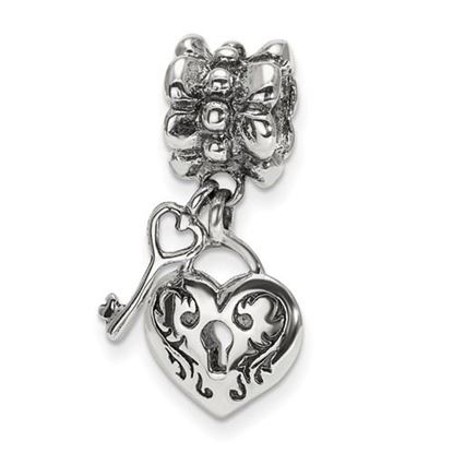 Picture of Sterling Silver Heart & Key Dangle Bead