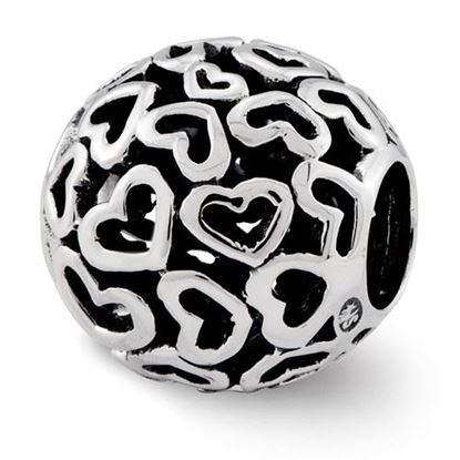 Picture of Sterling Silver Hearts Bali Bead