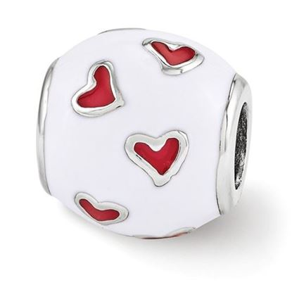 Picture of Sterling Silver Red & White Enamel Heart Bead