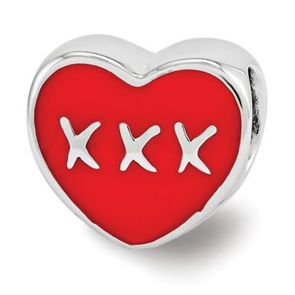 Picture of Sterling Silver Red Enamel LOVE & XXX Heart Bead