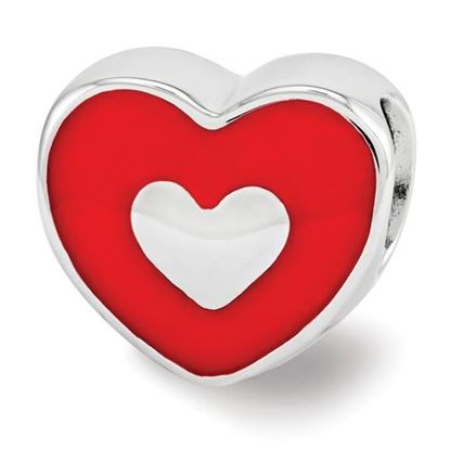 Picture of Sterling Silver Red Enamel LOVE & Heart Bead