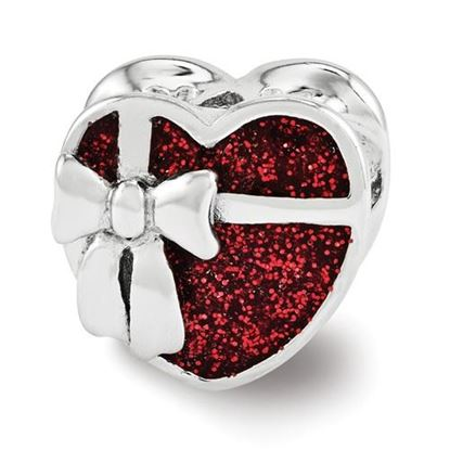 Picture of Sterling Silver Red Enameled Heart Bead