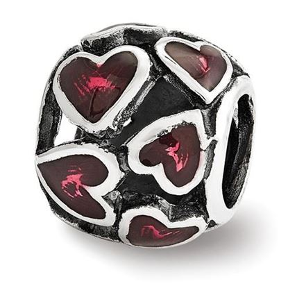 Picture of Sterling Silver Red Enamel Filigree Heart Bead