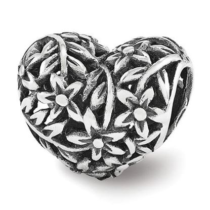 Picture of Sterling Silver Filigree Flower Heart Bead
