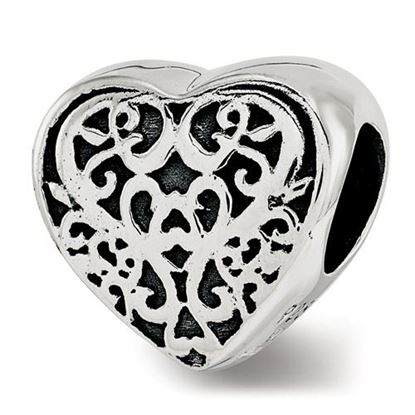 Picture of Sterling Silver Filigree Heart Bead