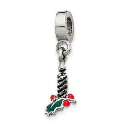 Picture of Sterling Silver Candle with Holly Leaf Dangle Bead